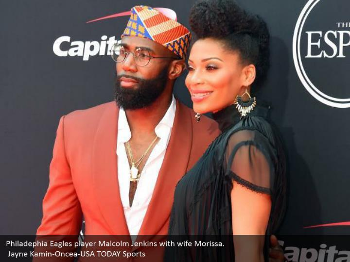 Philadephia Eagles player Malcolm Jenkins with wife Morissa.  Jayne Kamin-Oncea-USA TODAY Sports
