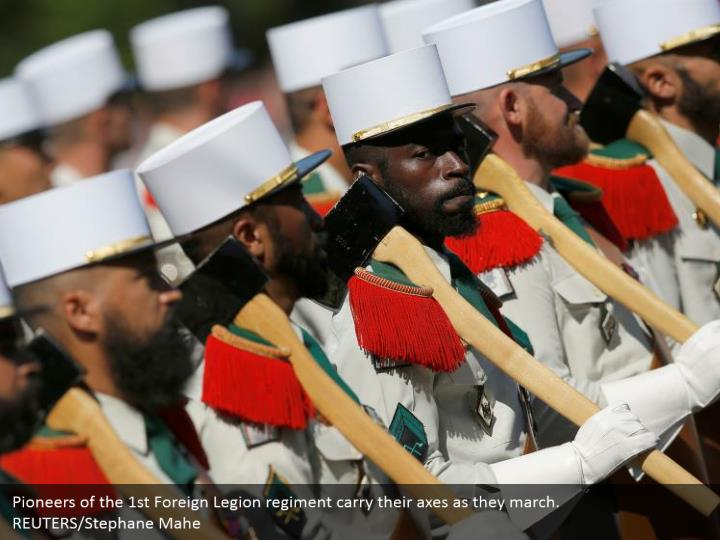 Pioneers of the 1st Foreign Legion regiment carry their axes as they march. REUTERS/Stephane Mahe
