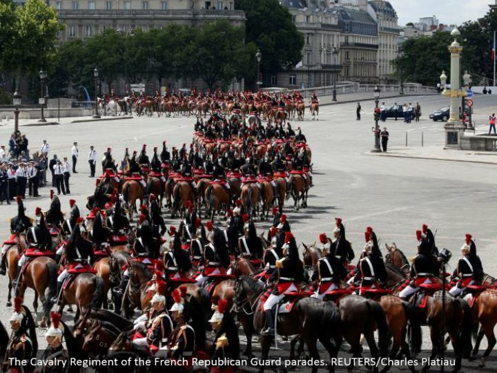 The Cavalry Regiment of the French Republican Guard parades. REUTERS/Charles Platiau