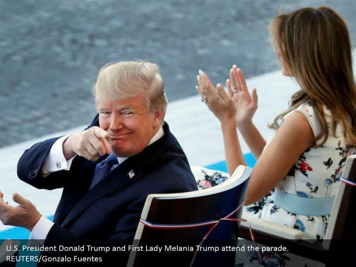 U.S. President Donald Trump and First Lady Melania Trump attend the parade. REUTERS/Gonzalo Fuentes