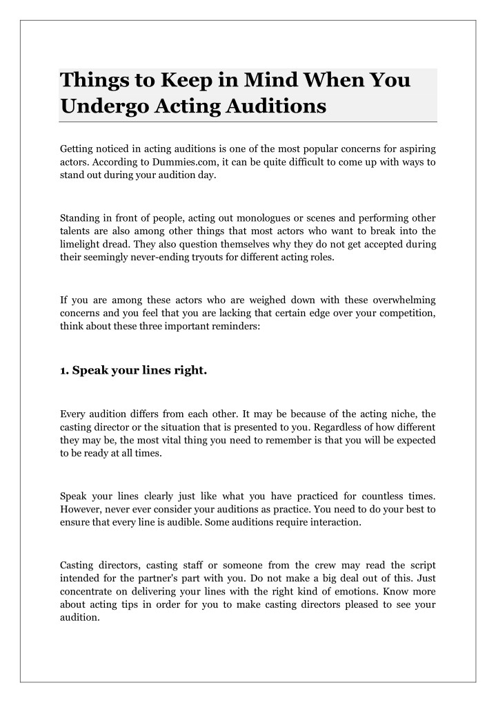 PPT - Things to Keep in Mind When You Undergo Acting
