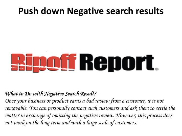 Push down Negative search results