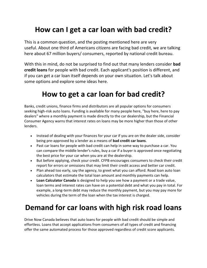 Loans For Bad Credit With Monthly Payments >> Ppt How Can I Get A Car Loan With Bad Credit Powerpoint