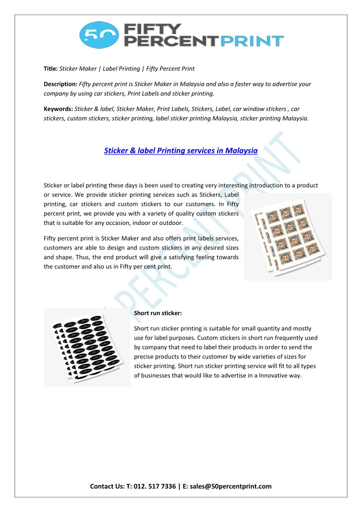 title sticker maker label printing fifty percent n.