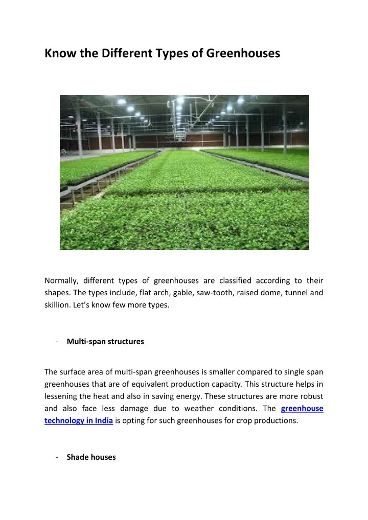 know the different types of greenhouses n.