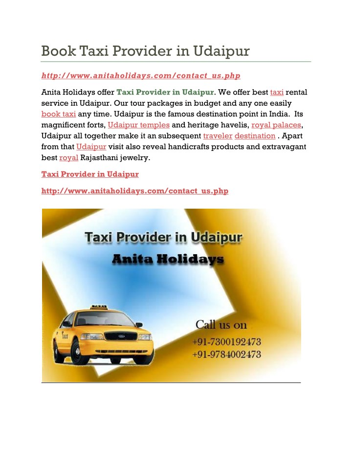 book taxi provider in udaipur n.