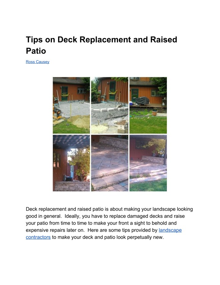 tips on deck replacement and raised patio n.