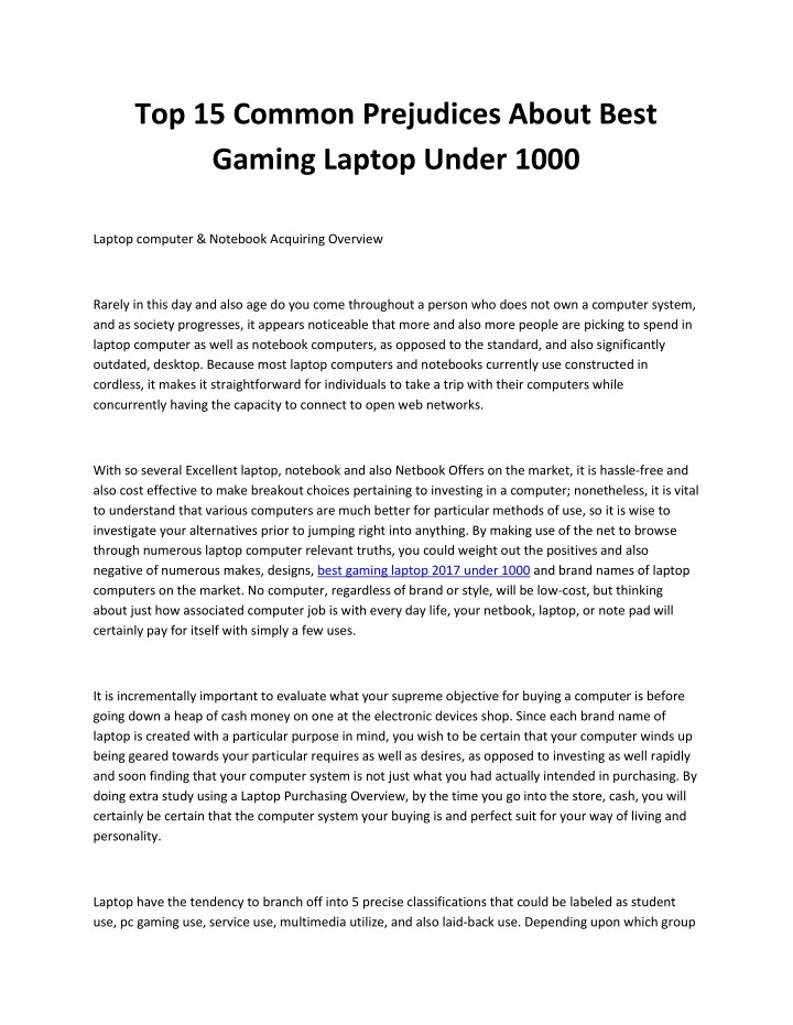 top 15 common prejudices about best gaming laptop n.