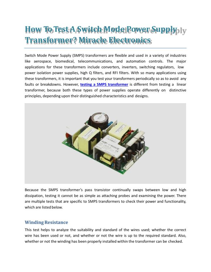 PPT - How To Test A Switch Mode Power Supply Transformer? Miracle ...