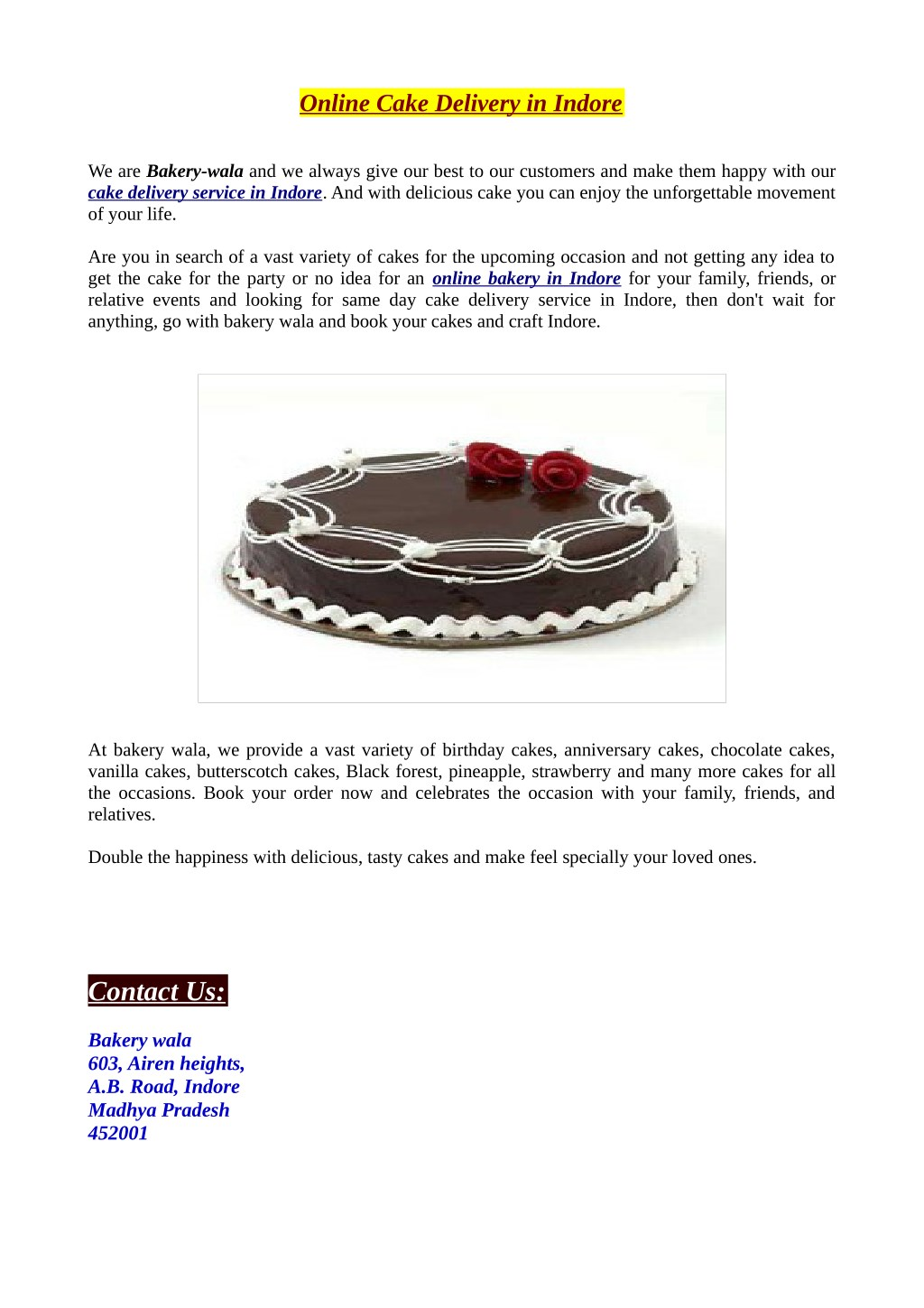 Online Cake Delivery In Indore N