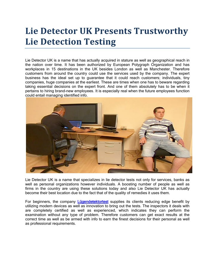 PPT - Lie Detector UK Presents Trustworthy Lie Detection ...