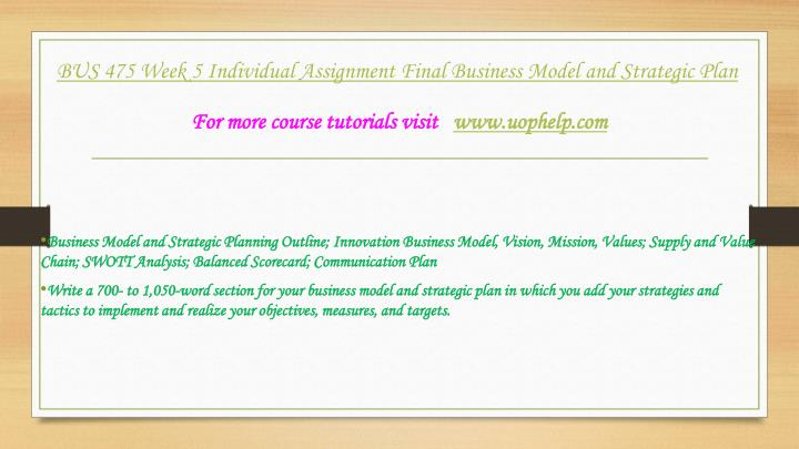 final business model and strategic plan Final business model and strategic plan name course instructor date executive summary/ abstract a strategic plan is necessary to achieving the goals and objectives, whereby the marketing and information technology strategies are integrated in strategic planning.