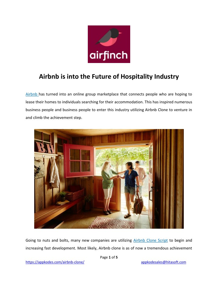 airbnb is into the future of hospitality industry n.