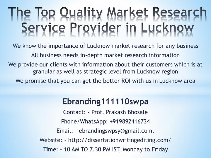 the top quality market research service provider in lucknow n.