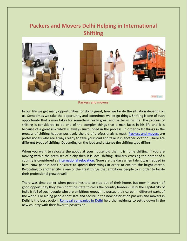 packers and movers delhi helping in international n.