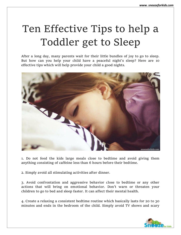 Ppt How To Make Toddler Sleep Fast Snooze For Kids Point