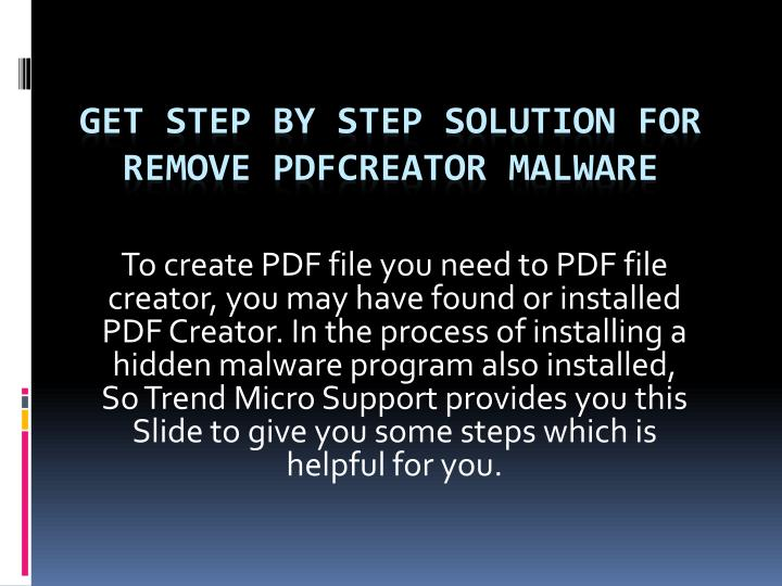 get step by step solution for remove pdfcreator malware n.