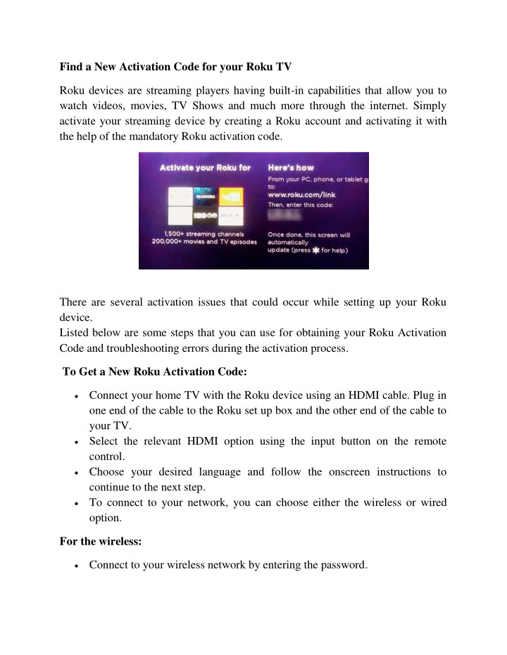 find a new activation code for your roku tv n.