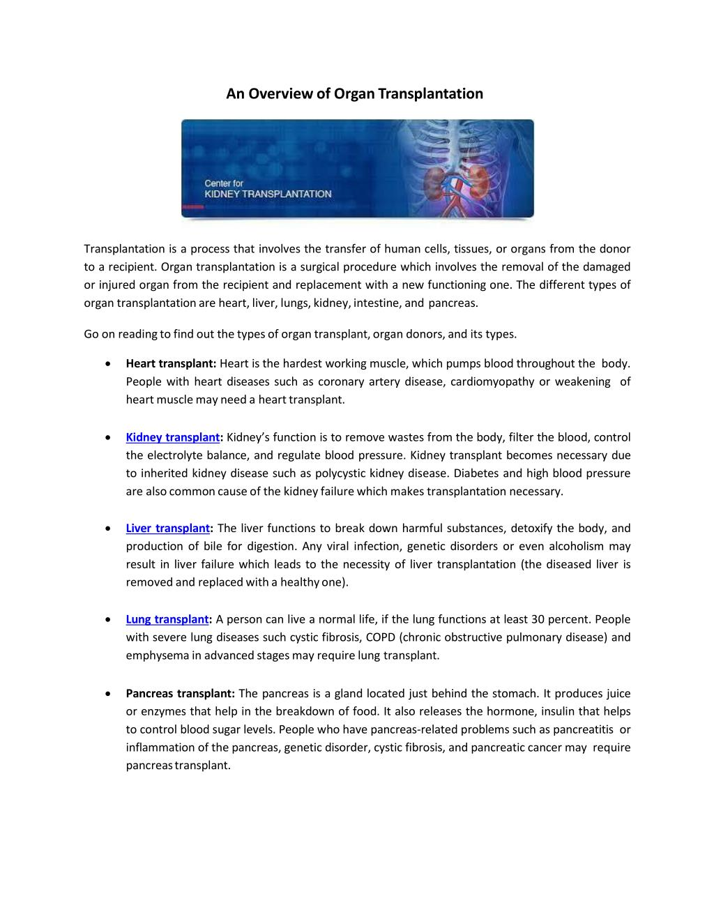 Ppt An Overview Of Organ Transplantation Powerpoint Presentation