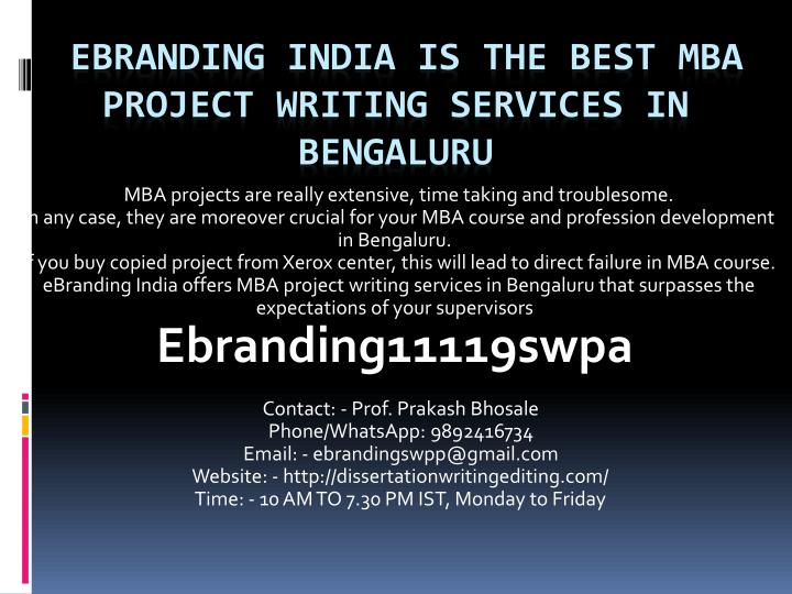 ebranding india is the best mba project writing services in bengaluru n.