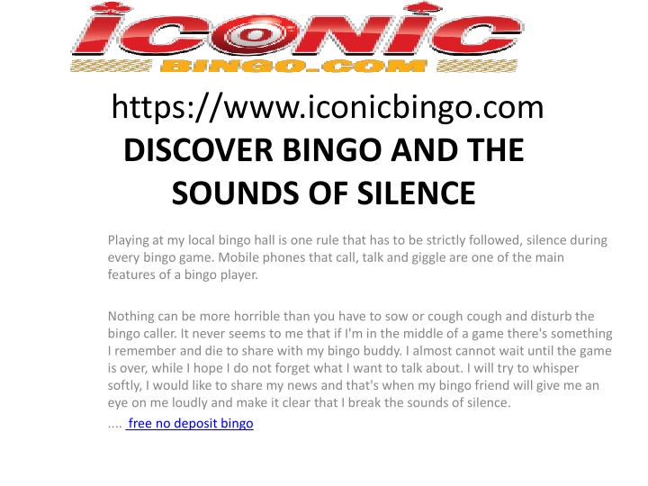 https www iconicbingo com discover bingo and the sounds of silence n.