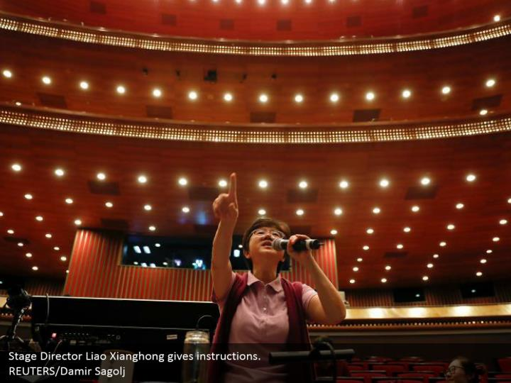 Stage Director Liao Xianghong gives instructions.  REUTERS/Damir Sagolj