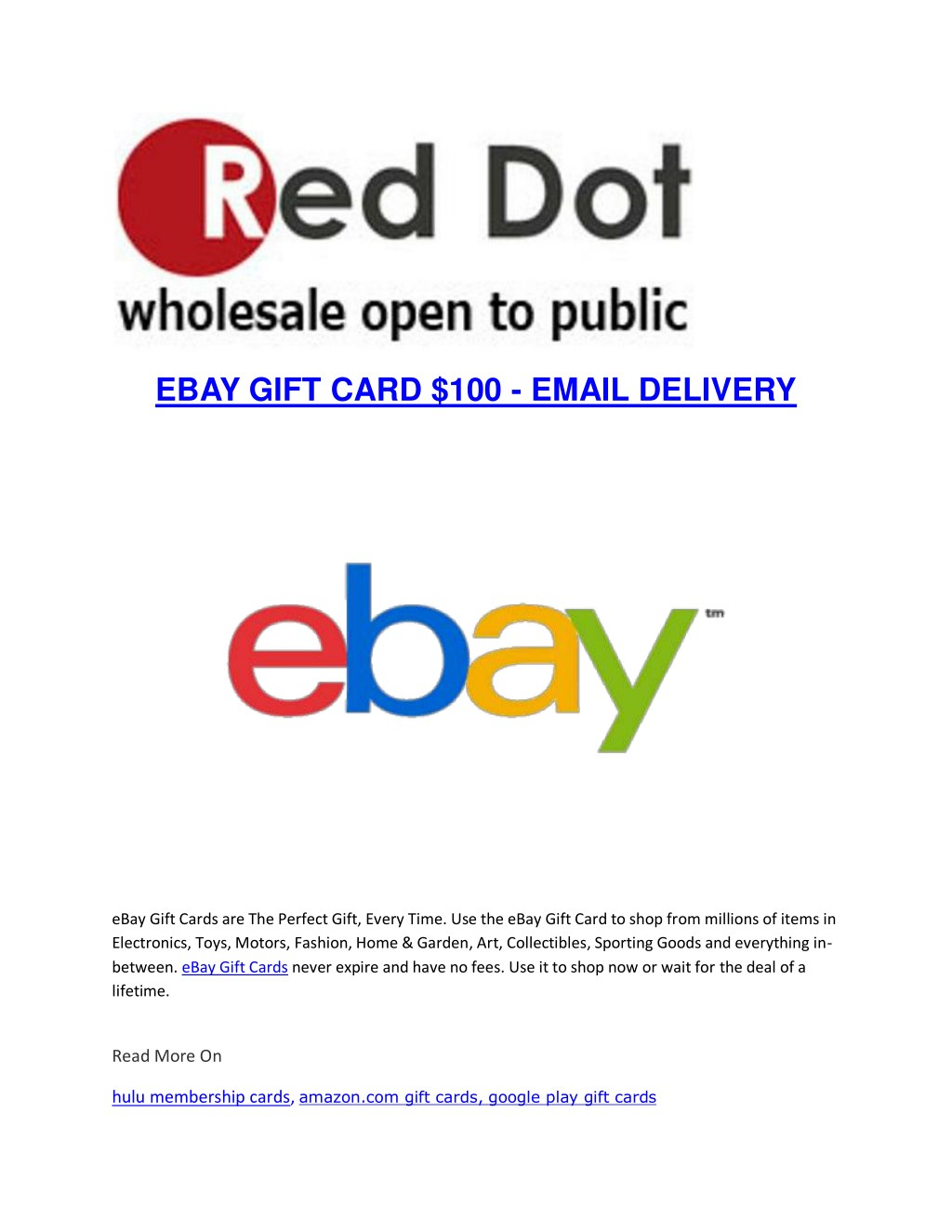 Ppt Ebay Gift Card 100 Email Delivery Powerpoint Presentation Free Download Id 7647652