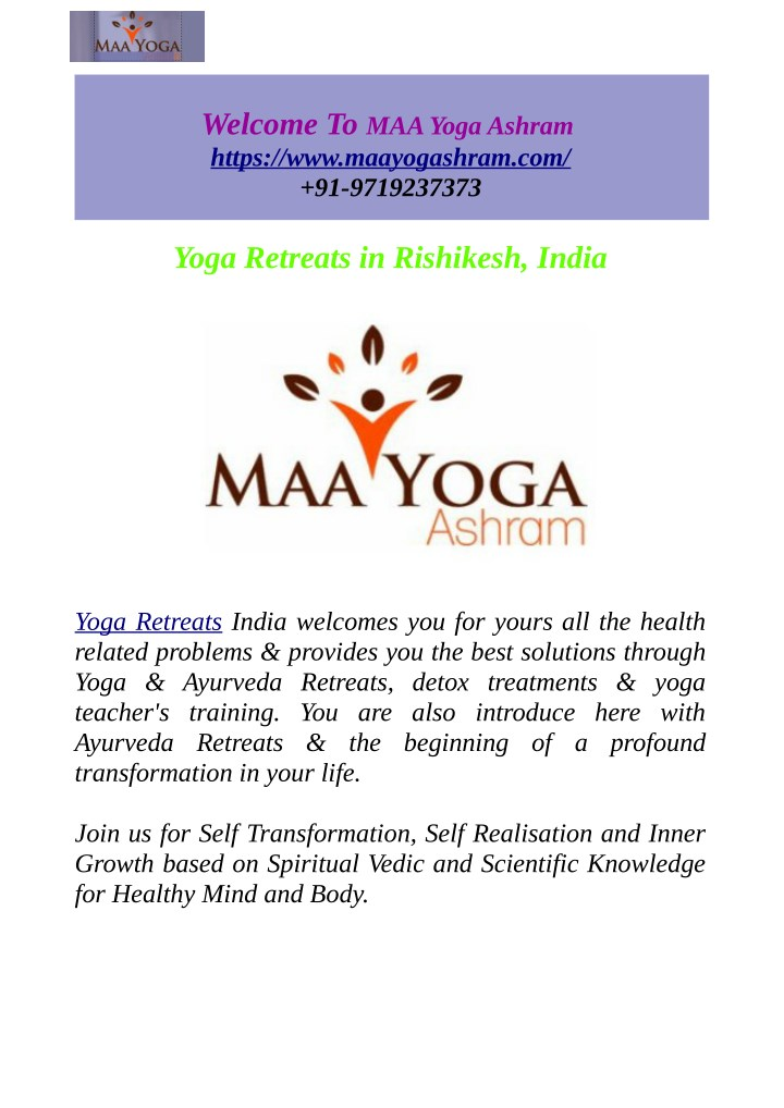 PPT - Yoga & Ayurveda Retreats In Rishikesh, India PowerPoint