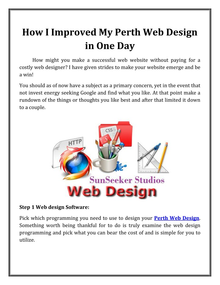 PPT - How I Improved My Perth Web Design in One Day