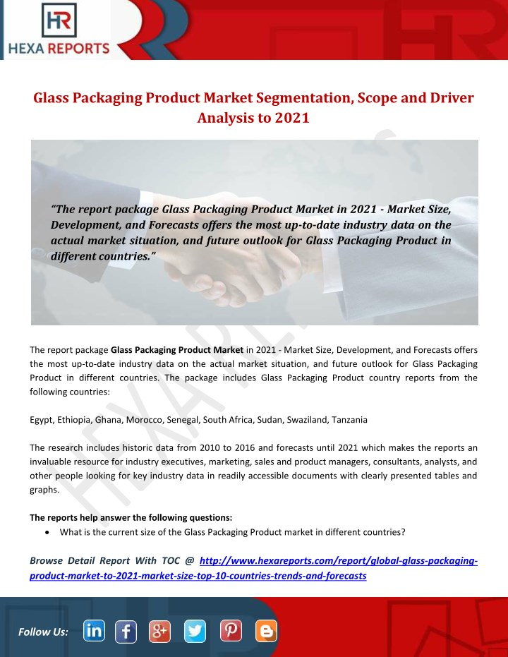 PPT - Glass Packaging Product Market Segmentation, Scope and