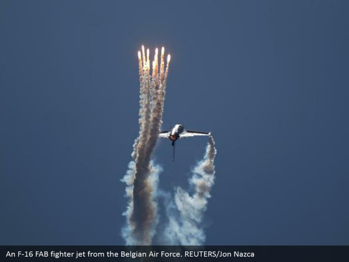 An F-16 FAB fighter jet from the Belgian Air Force. REUTERS/Jon Nazca