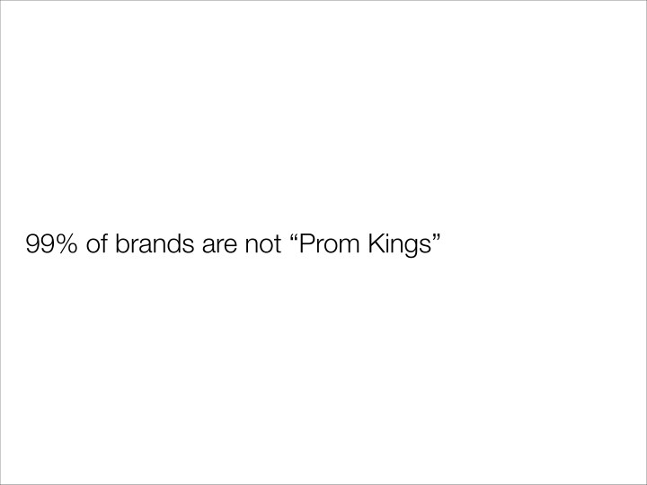 "99% of brands are not ""Prom Kings"""