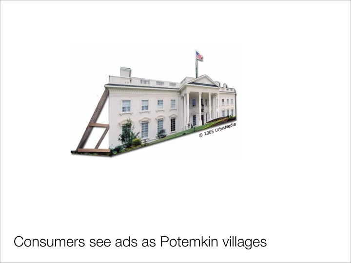 Consumers see ads as Potemkin villages