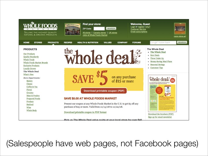 (Salespeople have web pages, not Facebook pages)