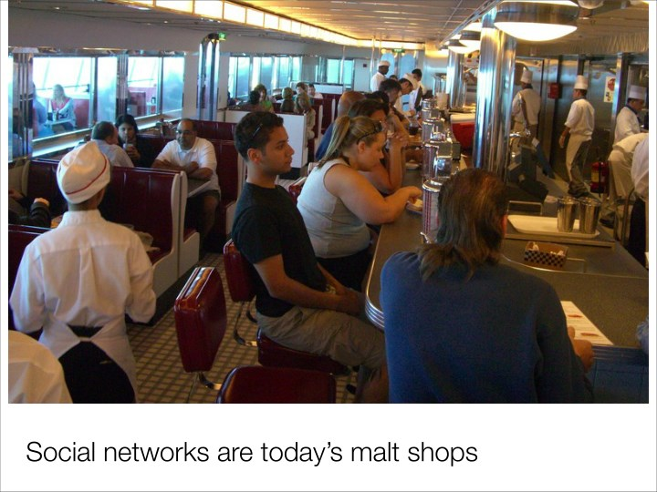 Social networks are today's malt shops