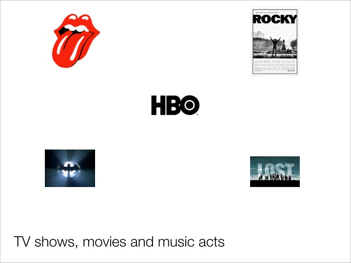 TV shows, movies and music acts