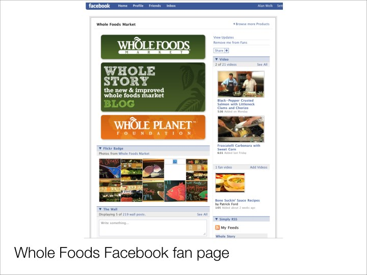 Whole Foods Facebook fan page