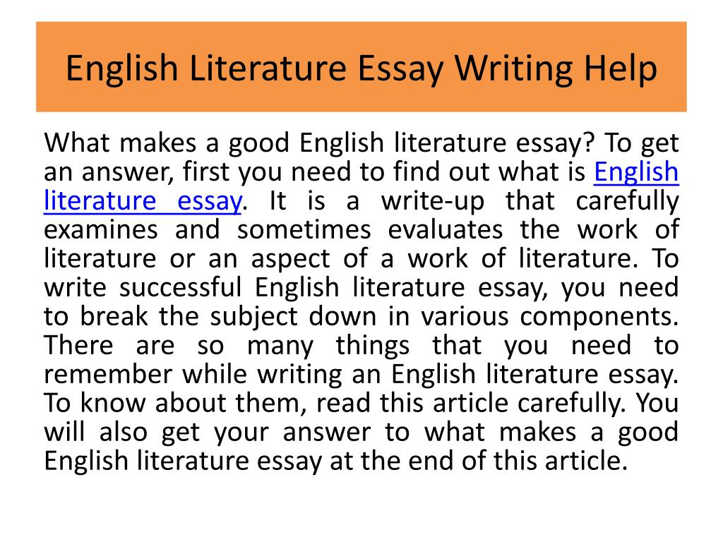 how to write a english literature essay