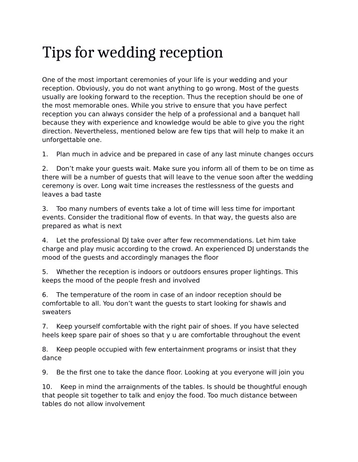 Ppt Tips For Wedding Reception Powerpoint Presentation Id7649764