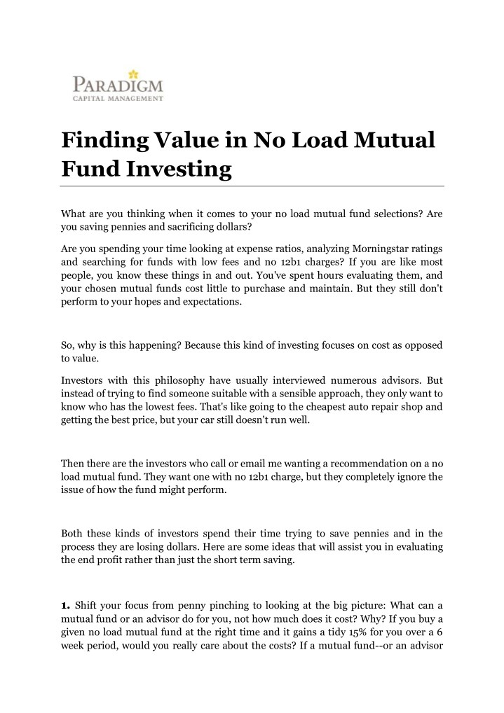 finding value in no load mutual fund investing n.