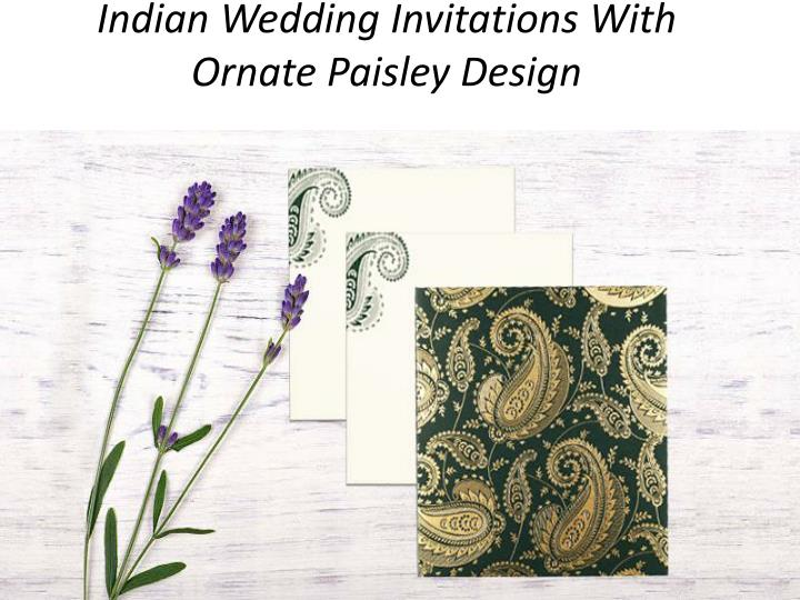 indian wedding invitations with ornate paisley design n.