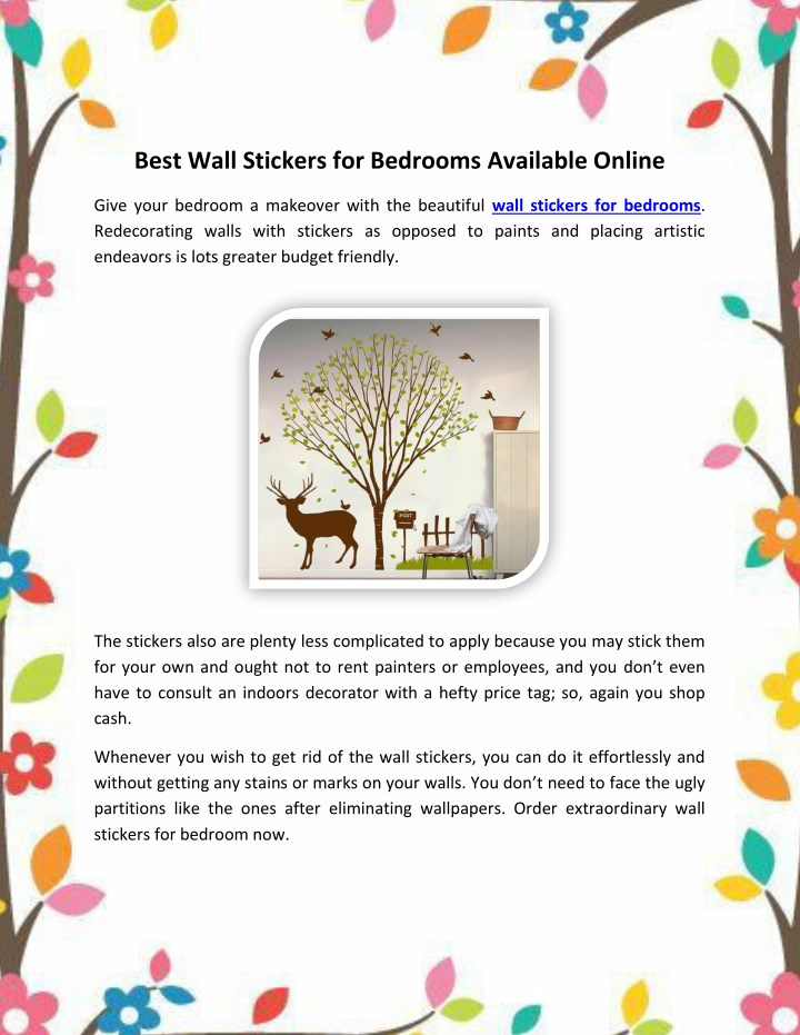 best wall stickers for bedrooms available online n.