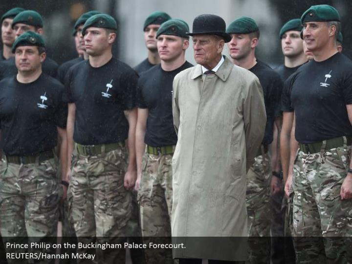 Prince Philip on the Buckingham Palace Forecourt.  REUTERS/Hannah McKay