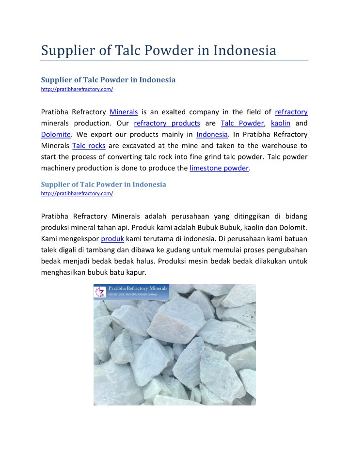 supplier of talc powder in indonesia n.