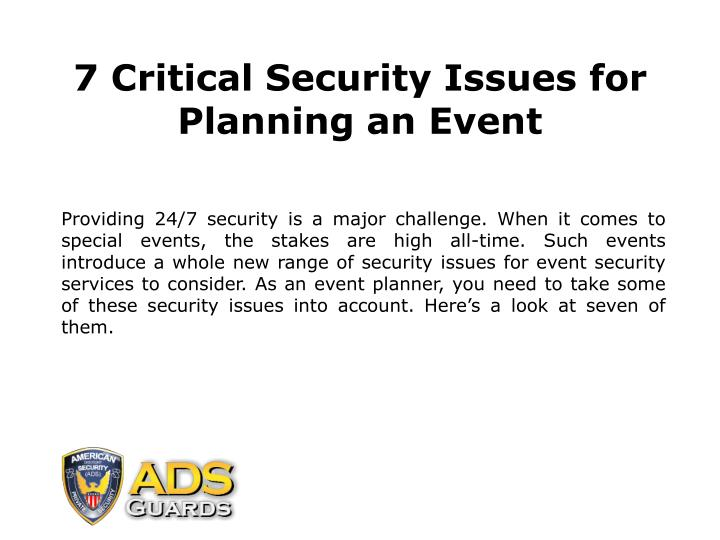 7 critical security issues for planning an event n.