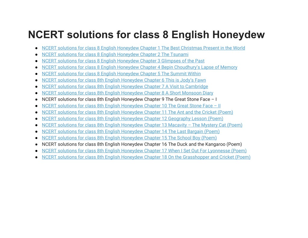 PPT - NCERT Solutions for Class 8 English Honeydew PowerPoint