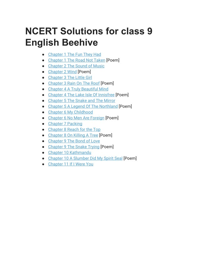 PPT - NCERT Solutions for Class 9 English Beehive PowerPoint