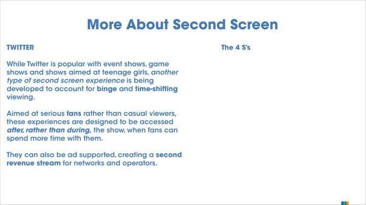 More About Second Screen