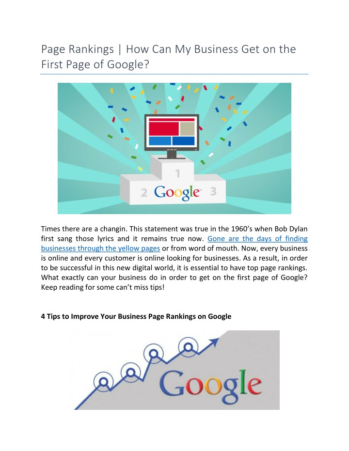 Ppt Page Rankings How Can My Business Get On The First