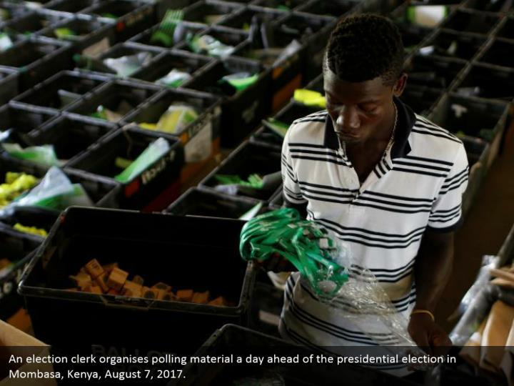 An election clerk organises polling material a day ahead of the presidential election in Mombasa, Kenya, August 7, 2017.